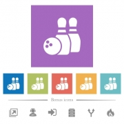 Bowling flat white icons in square backgrounds. 6 bonus icons included. - Bowling flat white icons in square backgrounds