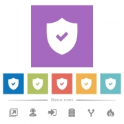Active security flat white icons in square backgrounds. 6 bonus icons included. - Active security flat white icons in square backgrounds