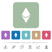 Ethereum digital cryptocurrency white flat icons on color rounded square backgrounds. 6 bonus icons included - Ethereum digital cryptocurrency flat icons on color rounded square backgrounds