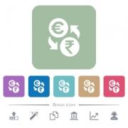 Euro Rupee money exchange white flat icons on color rounded square backgrounds. 6 bonus icons included - Euro Rupee money exchange flat icons on color rounded square backgrounds