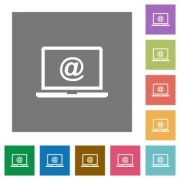 Laptop with email symbol flat icons on simple color square backgrounds - Laptop with email symbol square flat icons
