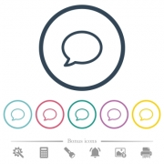 Empty comment bubble flat color icons in round outlines. 6 bonus icons included. - Empty comment bubble flat color icons in round outlines