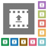 Upload movie flat icons on simple color square backgrounds - Upload movie square flat icons