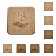 Sharing wireless network on rounded square carved wooden button styles - Sharing wireless network wooden buttons