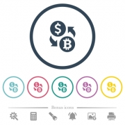 Dollar Bitcoin money exchange flat color icons in round outlines. 6 bonus icons included. - Dollar Bitcoin money exchange flat color icons in round outlines