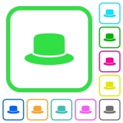Hat vivid colored flat icons in curved borders on white background - Hat vivid colored flat icons