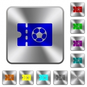 Soccer discount coupon engraved icons on rounded square glossy steel buttons - Soccer discount coupon rounded square steel buttons