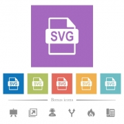 SVG file format flat white icons in square backgrounds. 6 bonus icons included. - SVG file format flat white icons in square backgrounds