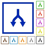 Split arrows down flat color icons in square frames on white background - Split arrows down flat framed icons