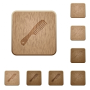 Comb with handle on rounded square carved wooden button styles - Comb with handle wooden buttons