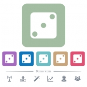 Domino three white flat icons on color rounded square backgrounds. 6 bonus icons included - Domino three flat icons on color rounded square backgrounds