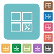 Dashboard tools white flat icons on color rounded square backgrounds - Dashboard tools rounded square flat icons