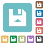 Network file white flat icons on color rounded square backgrounds - Network file rounded square flat icons