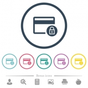 Lock credit card transactions flat color icons in round outlines. 6 bonus icons included. - Lock credit card transactions flat color icons in round outlines