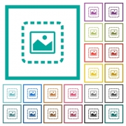 Place image flat color icons with quadrant frames on white background - Place image flat color icons with quadrant frames