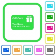Gift card with name and numbers vivid colored flat icons in curved borders on white background - Gift card with name and numbers vivid colored flat icons