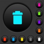 Single trash dark push buttons with vivid color icons on dark grey background - Single trash dark push buttons with color icons