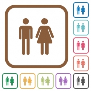 Male and female sign simple icons in color rounded square frames on white background