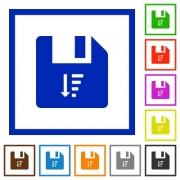 Descending file sort flat color icons in square frames on white background - Descending file sort flat framed icons