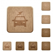 Electric car with flash on rounded square carved wooden button styles - Electric car with flash wooden buttons