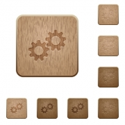 Collaboration on rounded square carved wooden button styles - Collaboration wooden buttons