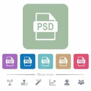PSD file format white flat icons on color rounded square backgrounds. 6 bonus icons included - PSD file format flat icons on color rounded square backgrounds