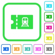 Railroad discount coupon vivid colored flat icons in curved borders on white background - Railroad discount coupon vivid colored flat icons