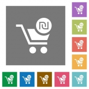 Checkout with new Shekel cart flat icons on simple color square backgrounds - Checkout with new Shekel cart square flat icons