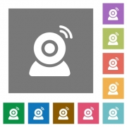 Wireless camera flat icons on simple color square backgrounds - Wireless camera square flat icons