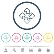 Puzzle pieces flat color icons in round outlines. 6 bonus icons included. - Puzzle pieces flat color icons in round outlines