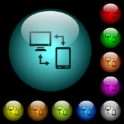 Connecting mobile to desktop icons in color illuminated spherical glass buttons on black background. Can be used to black or dark templates - Connecting mobile to desktop icons in color illuminated glass buttons