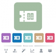 Hi-fi shop discount coupon white flat icons on color rounded square backgrounds. 6 bonus icons included - Hi-fi shop discount coupon flat icons on color rounded square backgrounds
