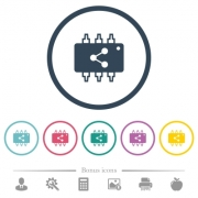 Connect hardware flat color icons in round outlines. 6 bonus icons included. - Connect hardware flat color icons in round outlines