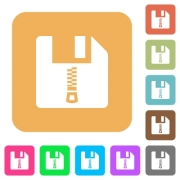 Zipped file flat icons on rounded square vivid color backgrounds.