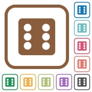 Dice six simple icons in color rounded square frames on white background - Dice six simple icons