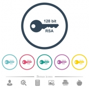 128 bit rsa encryption flat color icons in round outlines. 6 bonus icons included. - 128 bit rsa encryption flat color icons in round outlines