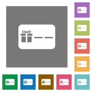 Gift card with placeholder flat icons on simple color square backgrounds - Gift card with placeholder square flat icons