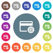 Credit card email notifications flat white icons on round color backgrounds. 17 background color variations are included. - Credit card email notifications flat white icons on round color backgrounds