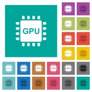 Graphics processing unit multi colored flat icons on plain square backgrounds. Included white and darker icon variations for hover or active effects. - Graphics processing unit square flat multi colored icons