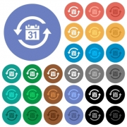 Monthly subscription multi colored flat icons on round backgrounds. Included white, light and dark icon variations for hover and active status effects, and bonus shades. - Monthly subscription round flat multi colored icons