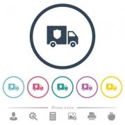 Money deliverer truck flat color icons in round outlines. 6 bonus icons included. - Money deliverer truck flat color icons in round outlines