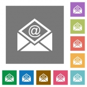 Open mail with email symbol flat icons on simple color square backgrounds - Open mail with email symbol square flat icons