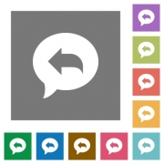 Reply message flat icons on simple color square backgrounds - Reply message square flat icons