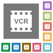 VCR movie standard flat icons on simple color square backgrounds - VCR movie standard square flat icons