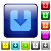 Download icons in rounded square color glossy button set - Download color square buttons