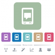 Mobile chat white flat icons on color rounded square backgrounds. 6 bonus icons included - Mobile chat flat icons on color rounded square backgrounds