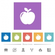 Apple flat white icons in square backgrounds. 6 bonus icons included. - Apple flat white icons in square backgrounds
