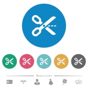 Cut out flat white icons on round color backgrounds. 6 bonus icons included. - Cut out flat round icons