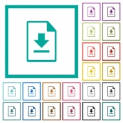 Download file flat color icons with quadrant frames on white background - Download file flat color icons with quadrant frames