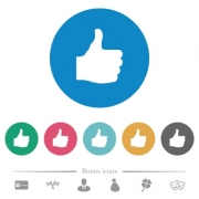 Thumbs up flat white icons on round color backgrounds. 6 bonus icons included. - Thumbs up flat round icons